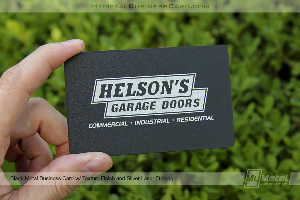 My Metal Business Card  Black Metal Business Card With Texture Finish For Garage Door Company 22737