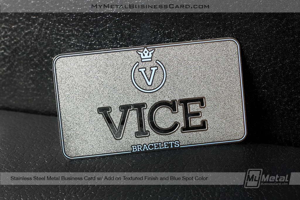 My Metal Business Card  Textured Stainless Steel Metal Business Card Blue Spot Color Custom Cutout Logo 27419