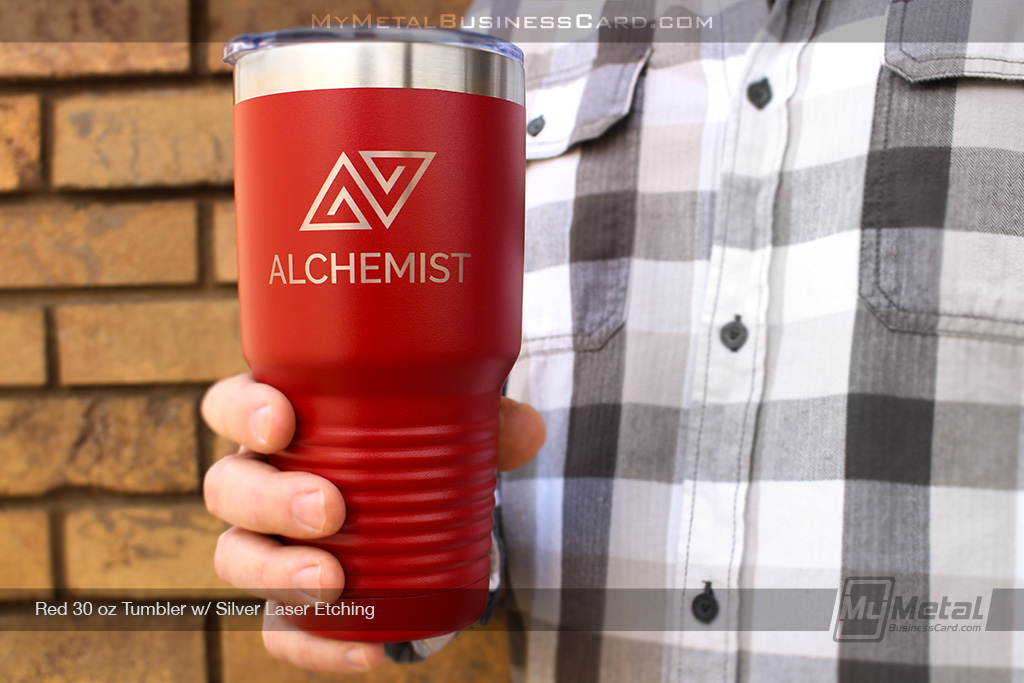 My Metal Business Card  Red 30 Oz Metal Tumbler With Your Company Logo Custom Laser Etched