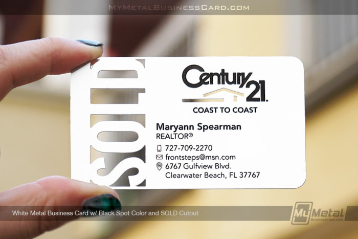 My Metal Business Card  White Metal Business Card For Century 21 Realtor With Spot Colors Cutouts