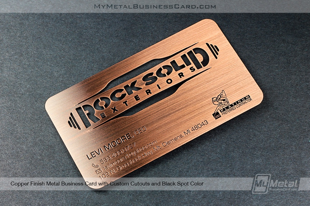 Metal Business Cards For Construction Company - Home Builders -Rock Solid Exteriors Copper Finish Metal Business Card With Laser And Custom Cutouts Black Spot Color