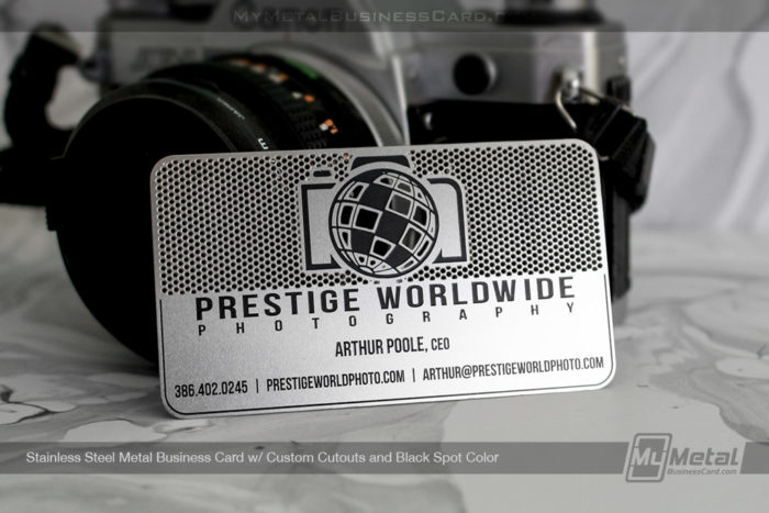 My Metal Business Card |Stainless Steel Custom Metal Business Card With Black Spot Color And Cutout Camera For Photographer