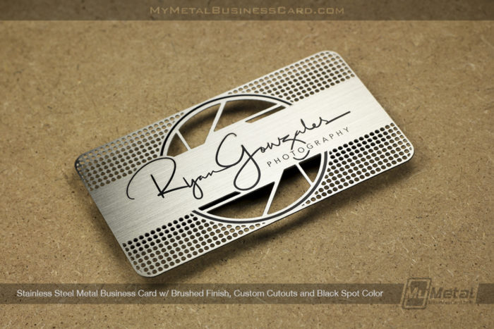 My Metal Business Card |Stainless Steel Metal Business Card For Photography Company Brushed Finish Black Spot Color 27425