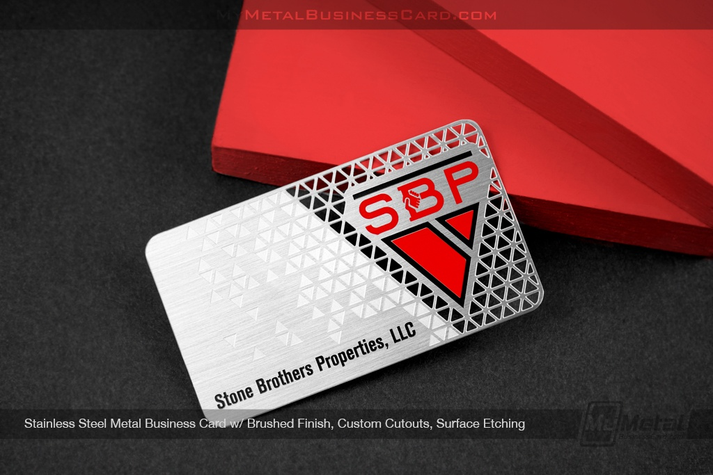 Stone Brothers Properties - Stainless Steel Card With Cutouts And Red Spot Color - My Metal Business Card