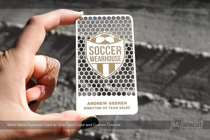 White-Metal-Business-Card-With-Custom-Cutouts-Gold-Color-For-Soccer-3