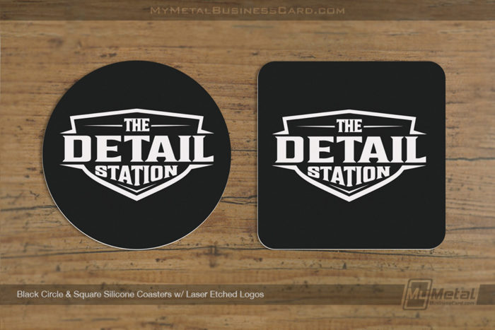 My Metal Business Card |Black Circle Square Silicone Coasters Laser Etched Logos