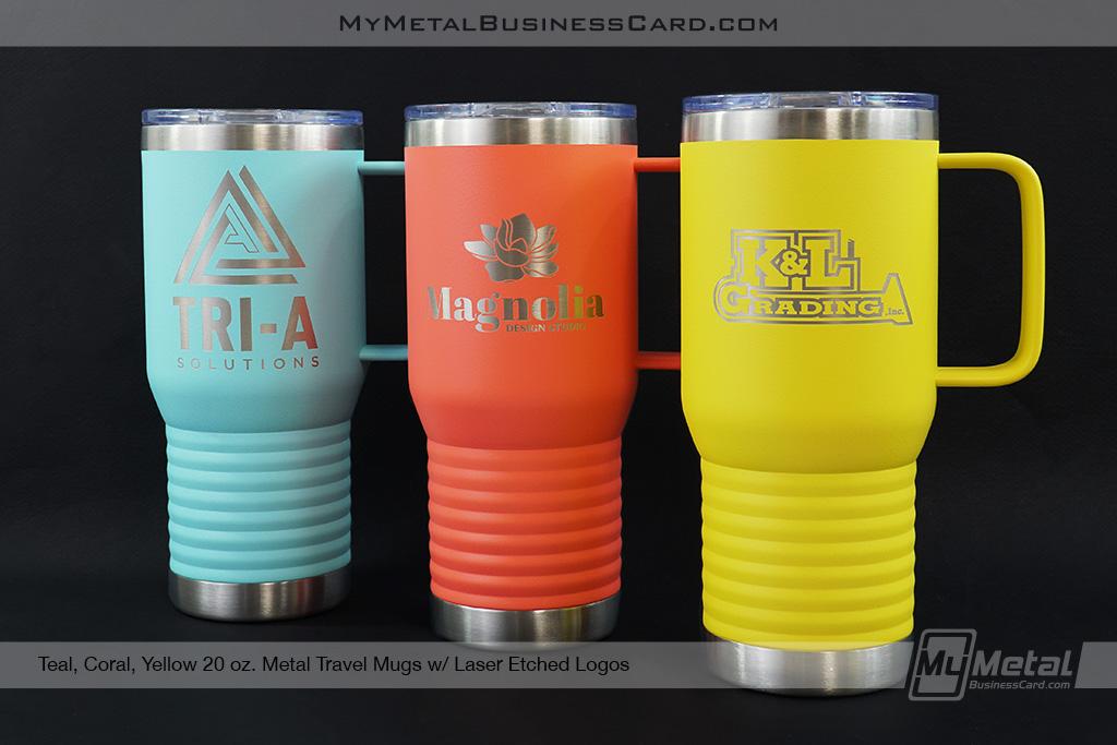 My Metal Business Card |Teal Coral Yellow 20 Oz Metal Travel Mug Laser Etched Logo
